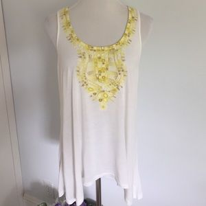 Anthropologie Yellow Embroidered Racerback Tank